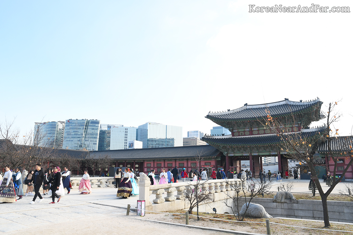 Seoul city over Gyeongbokgung wall, Seoul South Korea