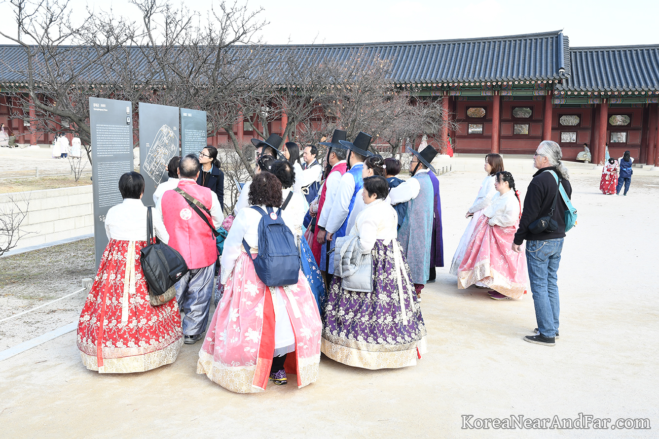 Guided tour at Gyeongbokgung Palace in Seoul, South Korea.