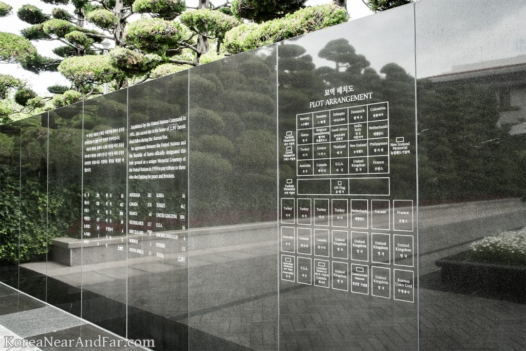 plot arrangement on the wall at UN Memorial Cemetery in Busan South Korea